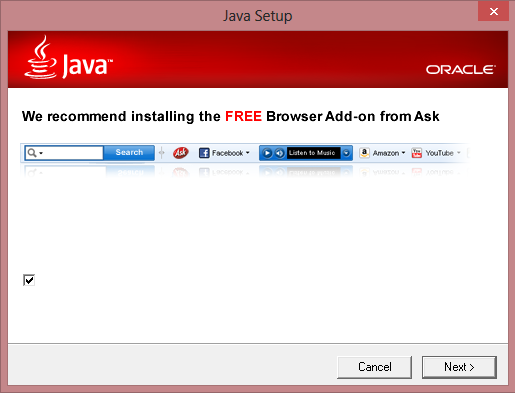 Ask.com Toolbar - Really Oracle?